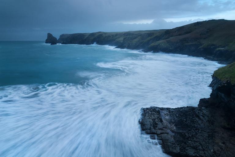 Storm over Cornish coastline