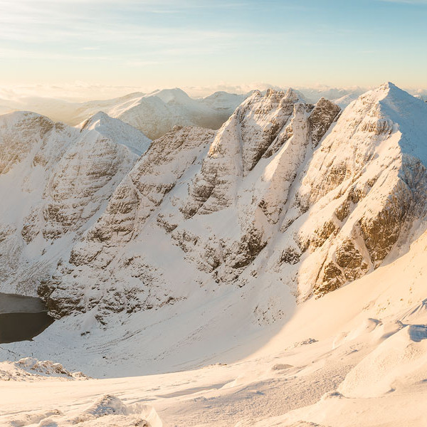 Panorama of An Teallach at sunrise