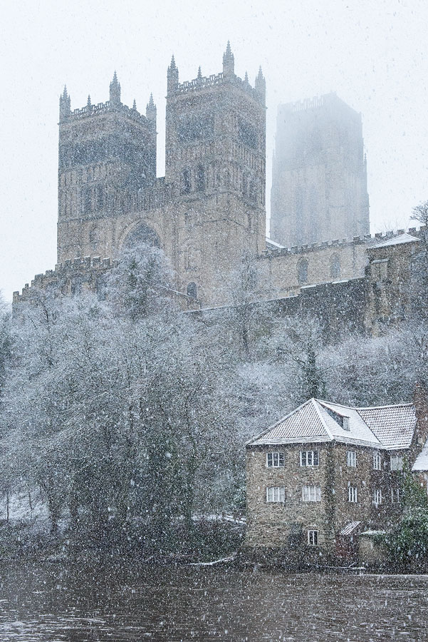Durham Cathedral In Heavy Snow In Winter Guy Richardson Photography