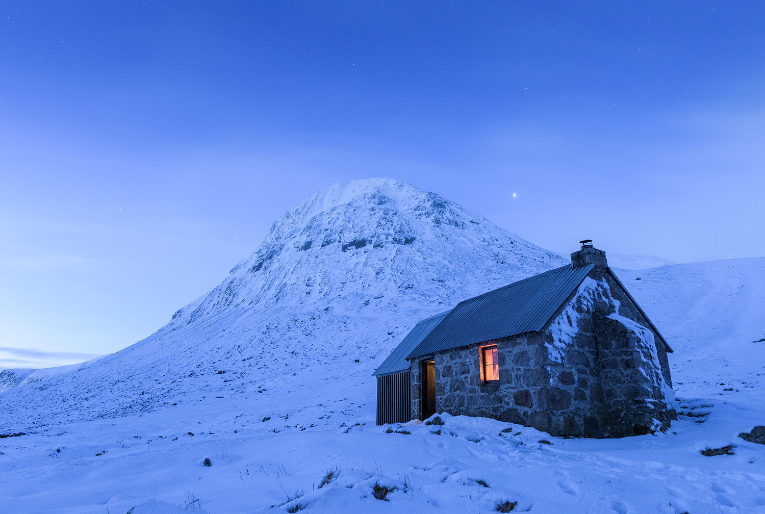 Scottish bothy in winter