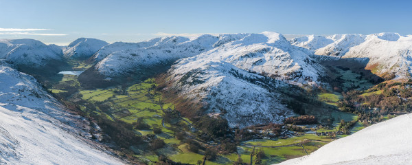 Panorama of winter's day in Lake District