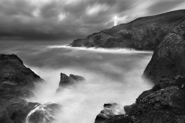 Cornish lighthouse in storm
