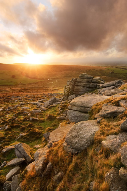 Dartmoor tor at sunset