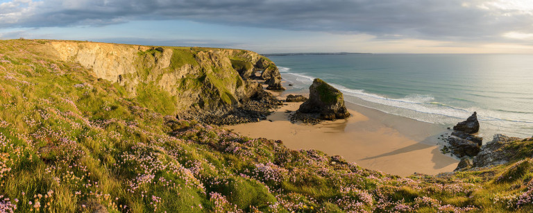Panorama from cliffs in Cornwall