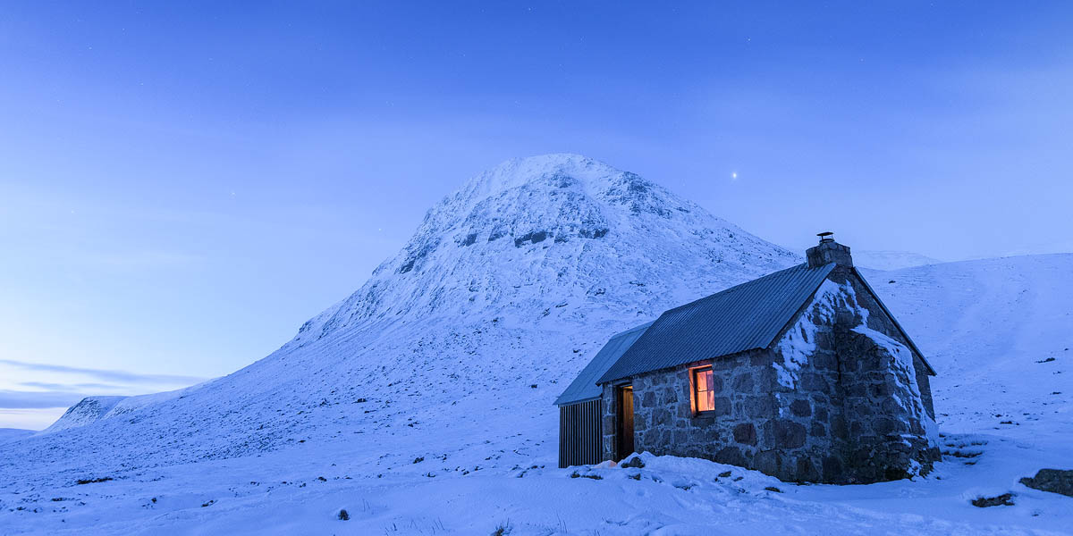 Corrour bothy at twilight