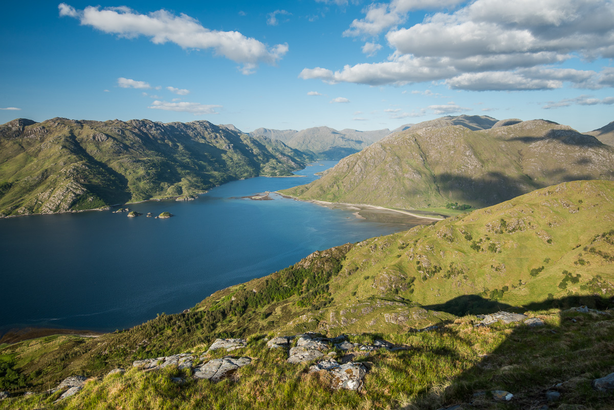 A view back up Loch Hourn as I begin ascending Ladhar Beinn