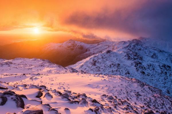 Bowfell winter sunrise