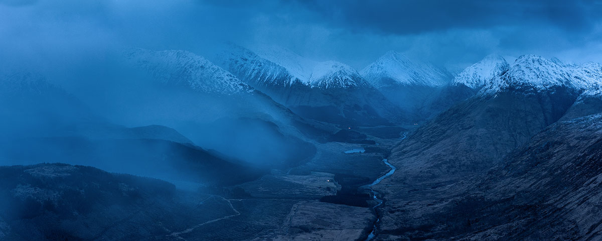 Snow showers engulfed Glen Etive well into twilight.