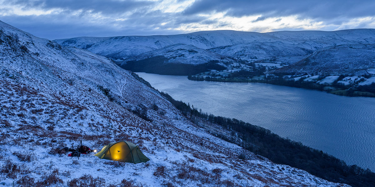 Our well sheltered pitch above Ullswater
