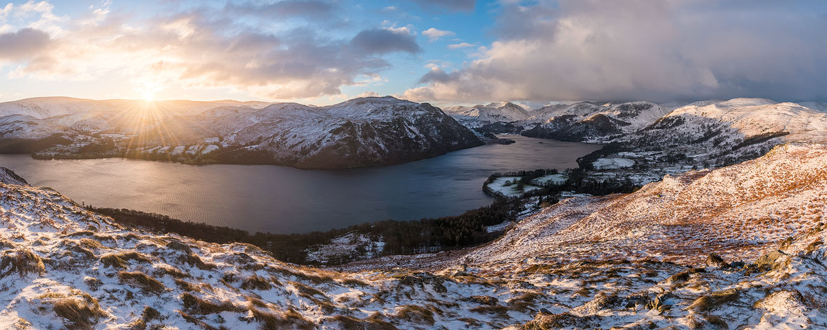 A panorama from Gowbarrow Fell at sunrise